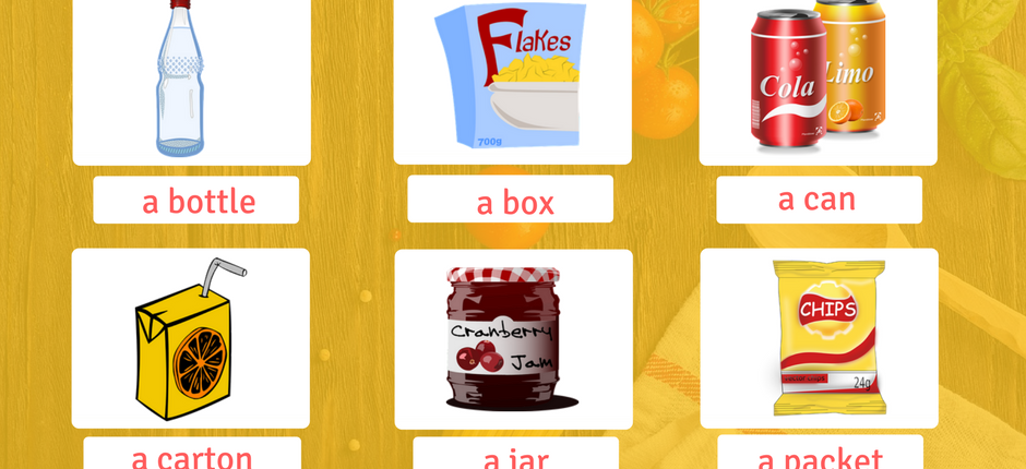 Food Containers vocabulary